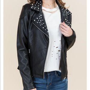 Makenna Pearl Collar Moto Jacket